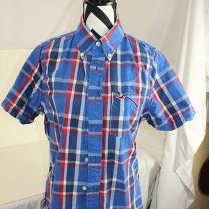 Boy's Hollister 100% cotton s/s plaid button down